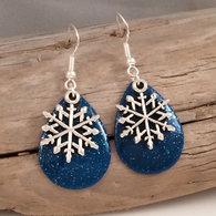 Blue Sparkle Snow Flake Earrings