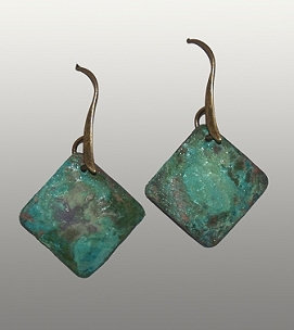 Petite Square Earrings in Melon Patch Patina
