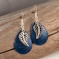 Blue Sparkle Silver Leaf Earrings