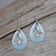 Seagreen Christmas Tree Earrings