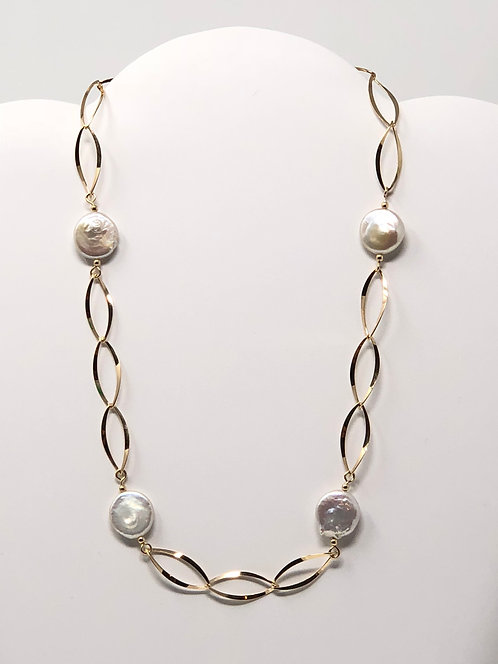 Twisted Marquise Necklace With Coin Pearl