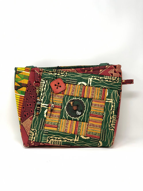 African Print Quilted Tote