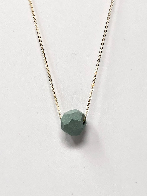 Dark Teal Petite Faceted Necklace