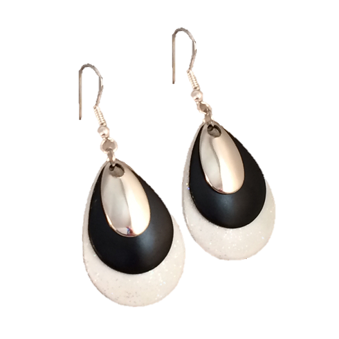 Black and White Sparkle Earrings