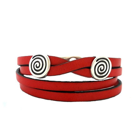 Women's Silver Eternity Red Leather Bracelet - Medium