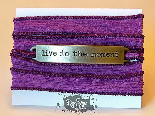 "Tangerine ""Live In The Moment"" Inspirational Silk Wrap Bracelet"