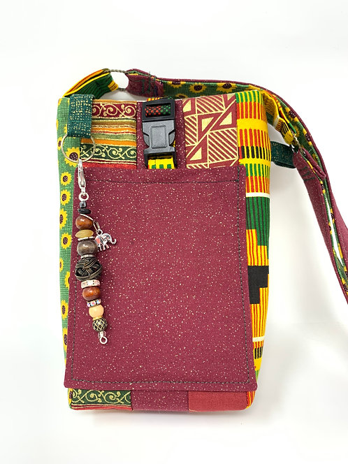 Quilted Cross-body African Print Phone Pouch