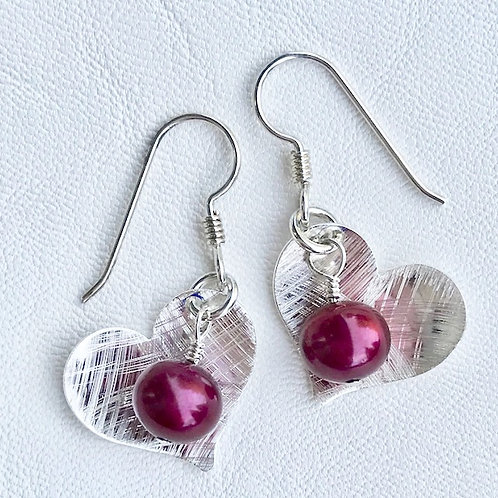 Small Red Love Fresh Water Pearl Earrings