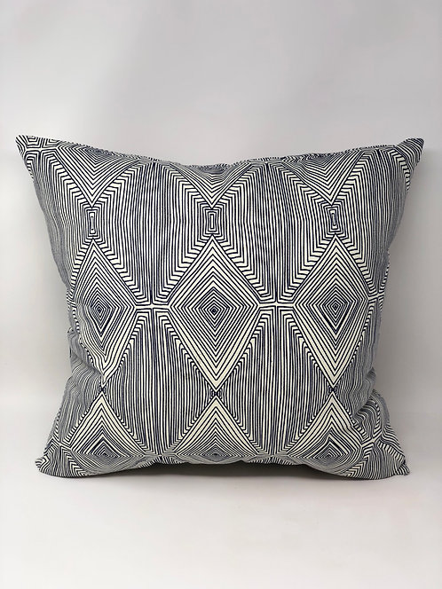 Geometric Blue and White Pillow
