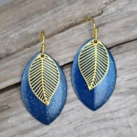 Marquis Shape Earrings with Gold Leaf