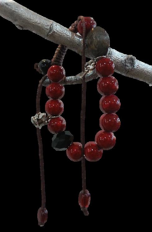 Beaded Red and Black Bracelet