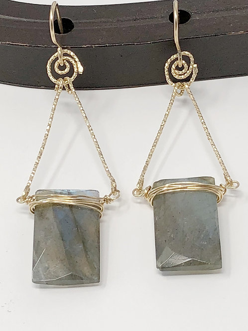 Labradorite and Gold filled Earrings