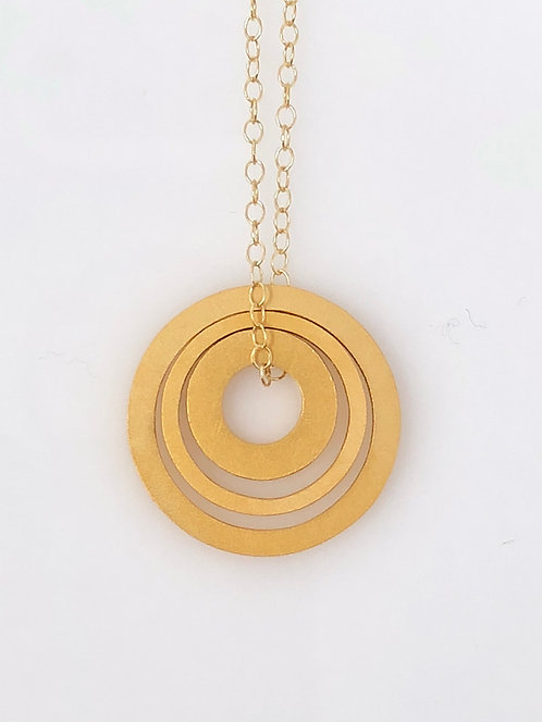 18K Gold Plated Nesting Circle Necklace