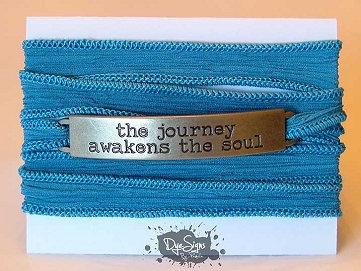 """The Journey Awakens the Soul"" Inspirational Silk Wrap Bracelet"
