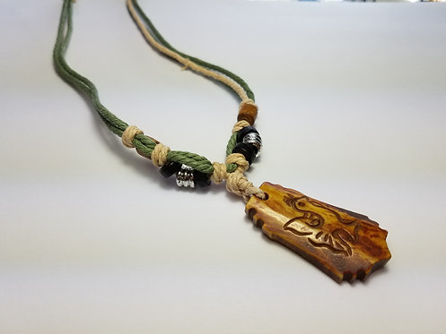 Green and Beige Embellished Rope Necklace