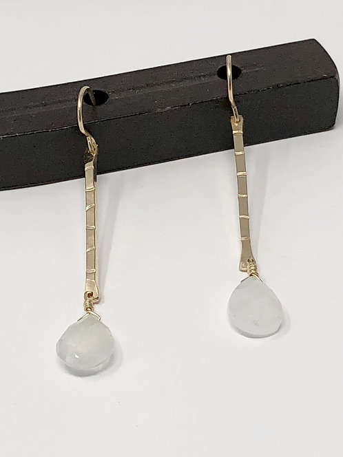 14K Gold Fill Drop Stamp Earrings with Moonstone