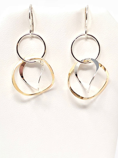 Gold and Silver Mix 3 Ring Earrings