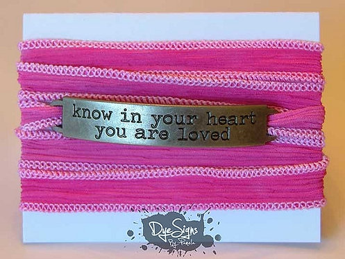 "Red ""Know In Your Heart You Are Loved"" Inspirational Silk Wrap Br"