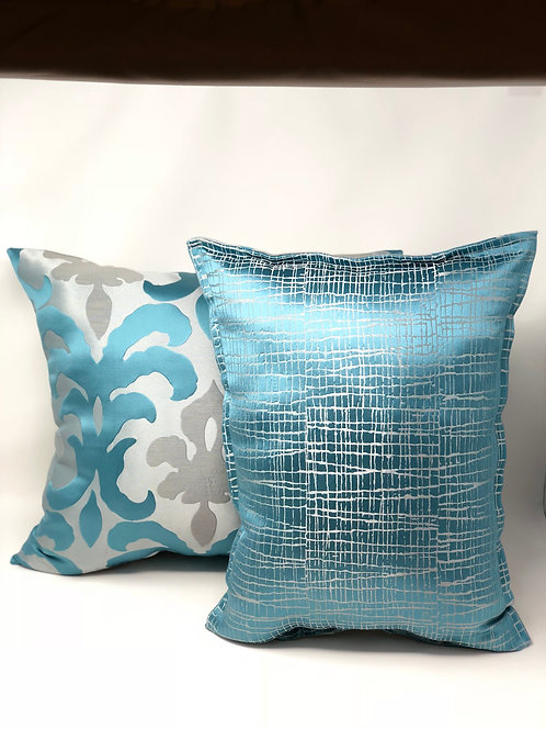 Reversible Silver and Teal Pillow