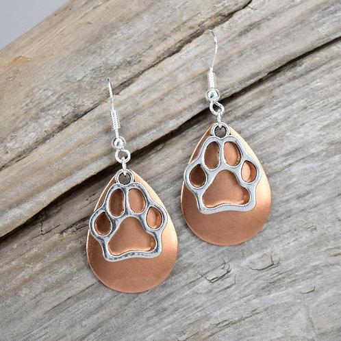 Dog Paw Copper & Silver Earrings