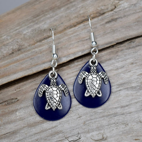 Turtle Charm Navy Blue Earrings