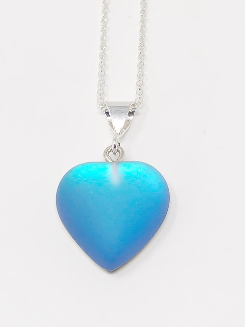 Small Frosted Blue Heart Pendant