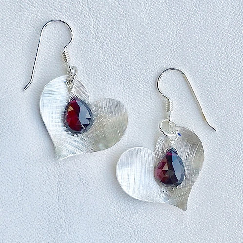 Large Love Garnet Earrings