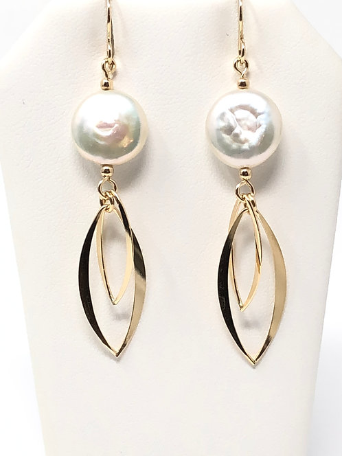 Marquise Shaped Wire and Coin Pearl Earring