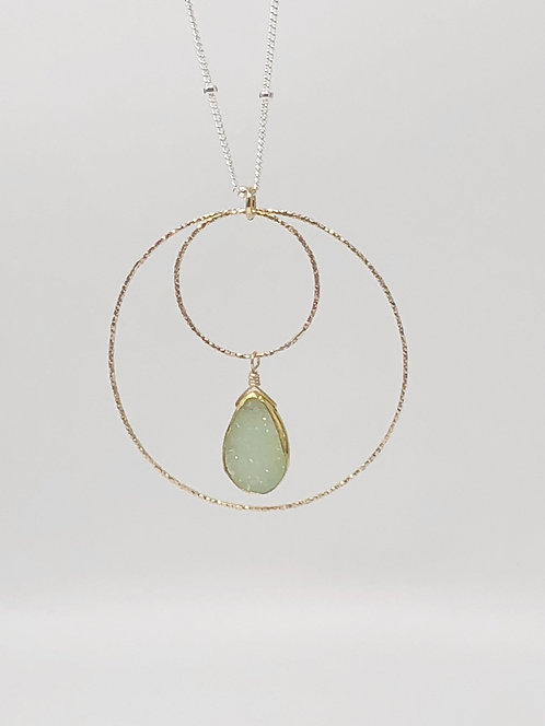 Light Green Druzy Circle Necklace