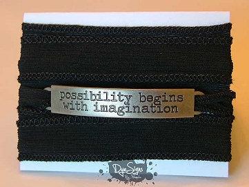 """Possibility Begins With Imagination"" Inspirational Silk Wrap Bracelet"