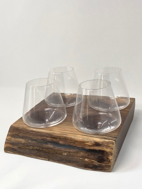 Revolving Wine Glasses on Live Edge Walnut