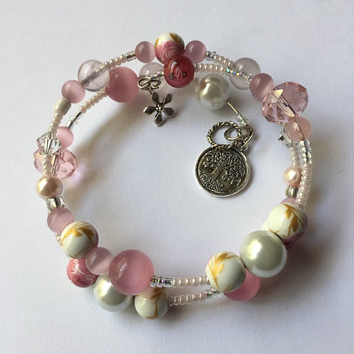 Pink and Ivory Bauble Memory Wire Bracelet