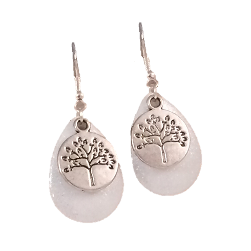 Tree of Life White Sparkle Earrings