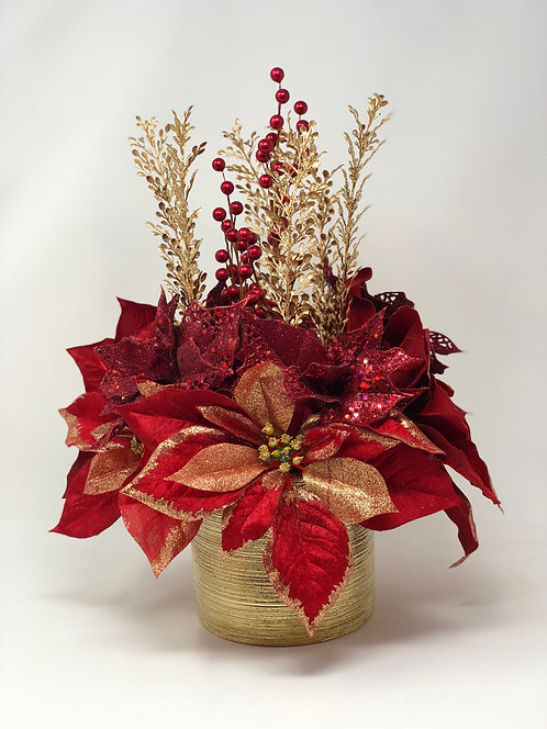 Red and Gold Poinsettia Floral