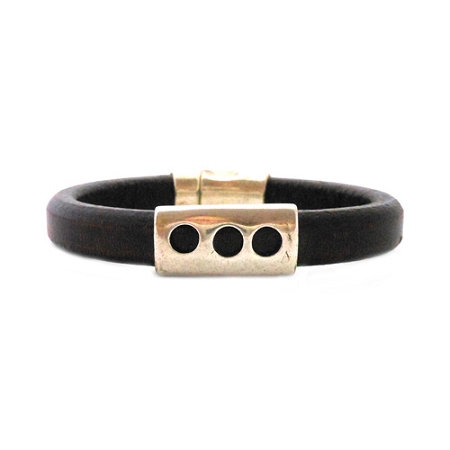 Men's Silver Moon Black Leather Bracelet - Large