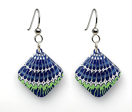 Blue/Green Painted Shell Earrings