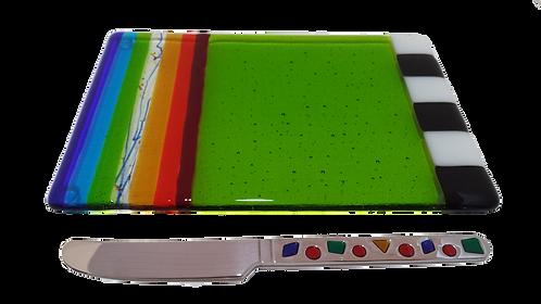 Rainbow Green Cheese Plate w Spreader
