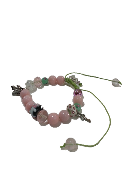 Beaded Pink and Green Bracelet