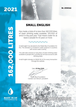 Official certificate issued by Made Blue