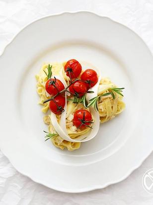 Pasta mit weißem Spargel