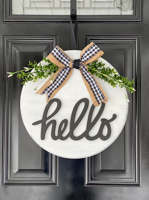 "Hello Wooden Sign 18"" Round"