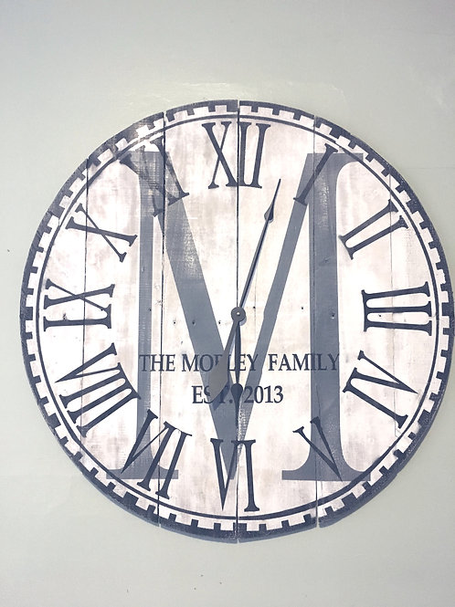 Family Established Wooden Clock (Large)