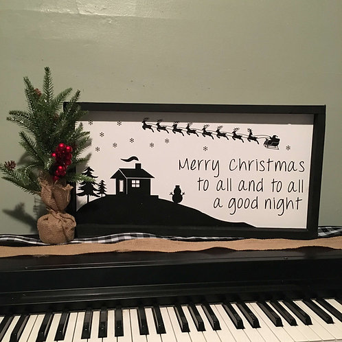 """Merry Christmas To All And To All A Good Night 11.5' x 23.5"""" (White)"""