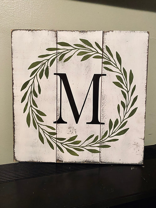 """Initial Wreath Plank Sign 16"""" x 16"""""""
