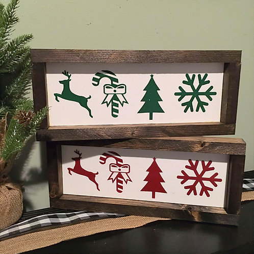 Christmas symbols Wood Christmas Sign 11.5' x 4'