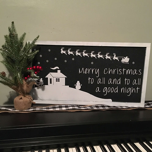 """Merry Christmas To All And To All A Good Night 11.5' x 23.5"""" (Black))"""