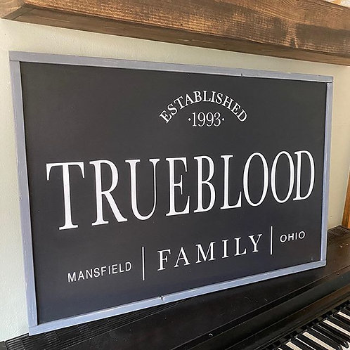 Personalized Family Sign with city and established date