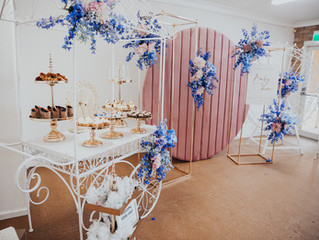 A pink and blue floral baby shower