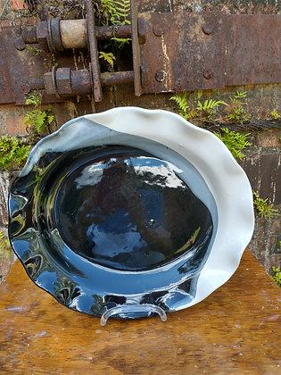 Platter in Black Grey and White Glaze