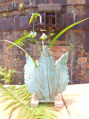 Leaf sconce in Bermuda Blue